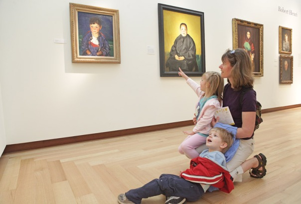 Pam Baclaski of Berlin, with her four-year-old daughter Bailey, and two-year-old son Jack, visit the New Britain Museum of American Art on Mother's Day. (5/10/09)