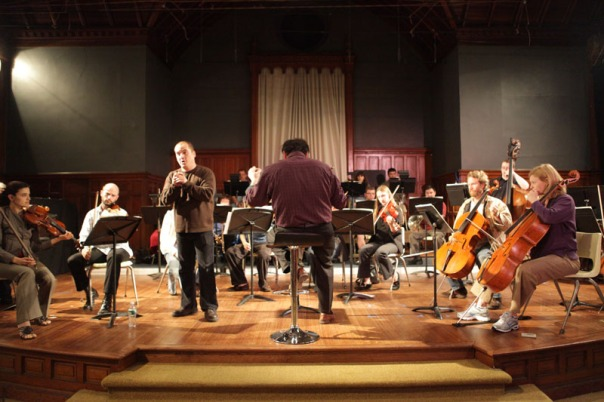 "The Connecticut Virtuosi Chamber Orchestra rehearses for their Friday night concert, ""Freedom Calls"" at the Trinity on Main performance center. (5/12/09)"