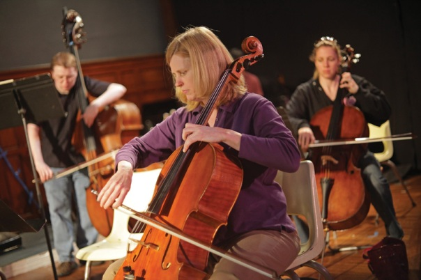 "First cello Kathy Schiano performs with the Connecticut Virtuosi Chamber Orchestra, during their rehearsal for the Friday night concert, ""Freedom Calls"" at the Trinity on Main performance center. (5/12/09)"